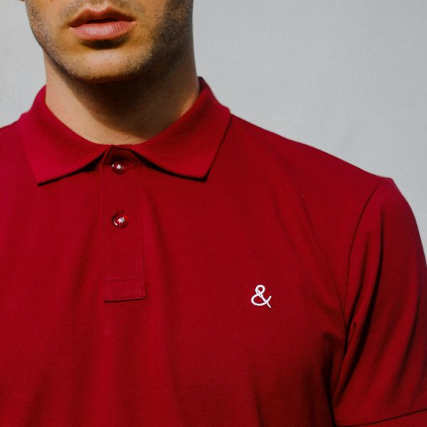Scarlet Red Stretch Polo T-Shirt