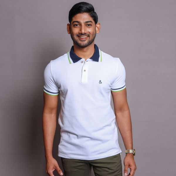 White Polo with Contrast Collar