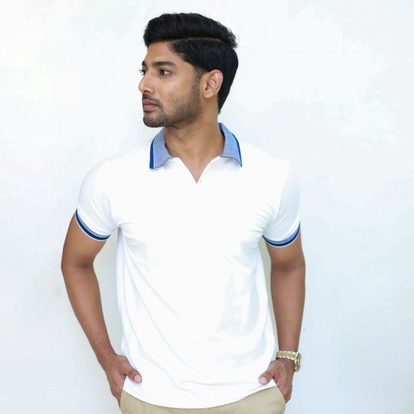 White Stretch Polo with Textured Collar