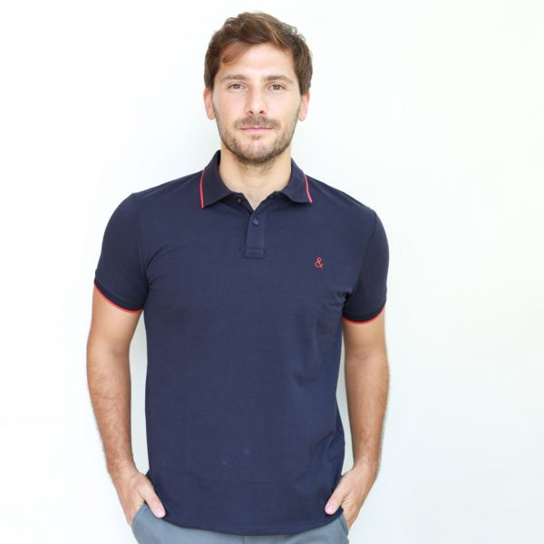 Navy Blue Polo with Navy and Red Collar