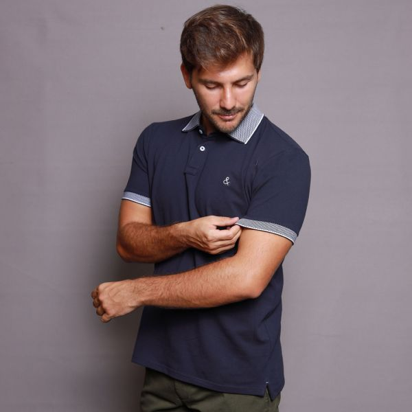 Navy Blue Polo with Navy Textured Collar