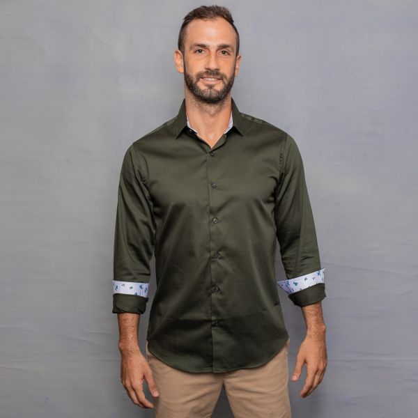 Olive Green Satin Shirt with Contrast