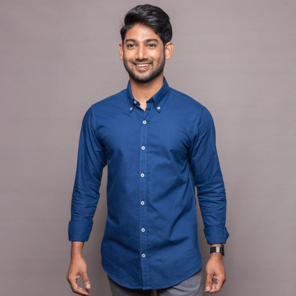 Navy Blue Washed Oxford Shirt