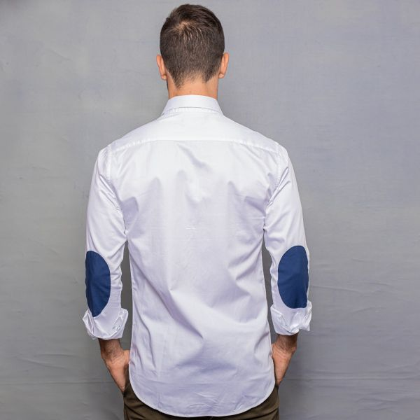 White Satin Shirt with Elbow Patch